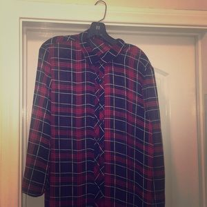 Sheer plaid full length shirt.